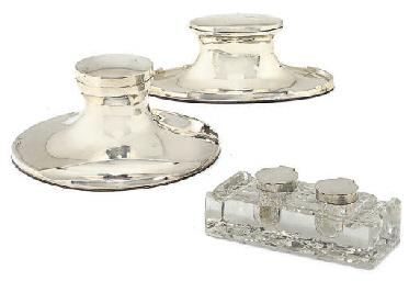 A SILVER-MOUNTED CUT-GLASS DOU