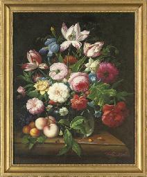 Roses, camellia, iris, parrot