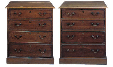 A PAIR OF OAK AND PINE CHESTS