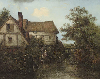 Figures before a watermill