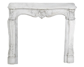 A FRENCH CARVED MARBLE CHIMNEY