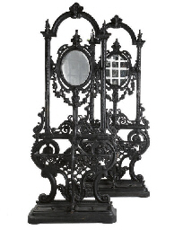 A PAIR OF CAST-IRON HALL STAND