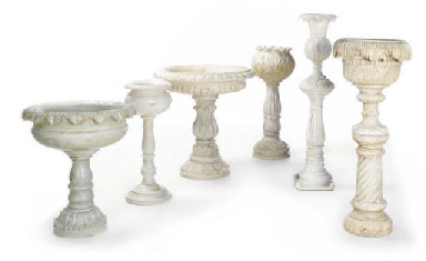 A GROUP OF MARBLE, ALABASTER A
