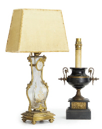 A PAIR OF FRENCH GILT-BRONZE MOUNTED GLASS TABLE LAMPS