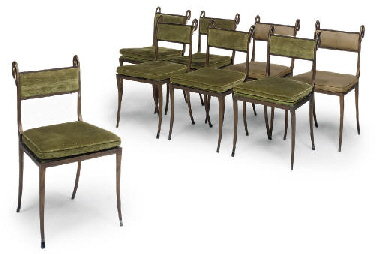 A SET OF EIGHT BRASS DINING CH