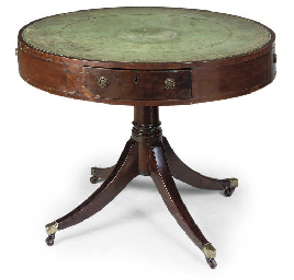 A REGENCY MAHOGANY DRUM TABLE