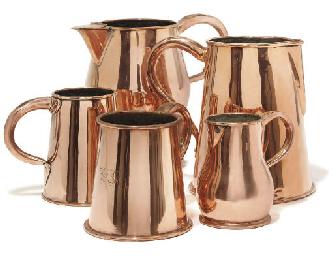 A Regency copper ale jug