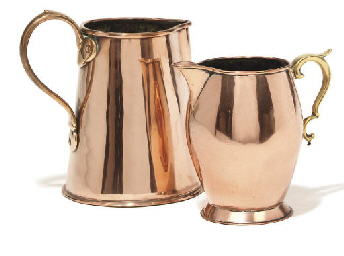 A Regency copper ale jug