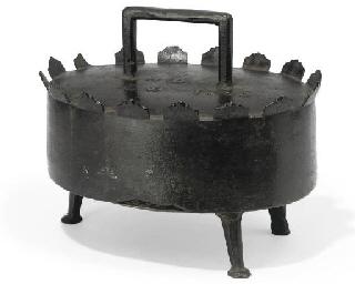 A FRENCH BRONZE PHEASANT PAN