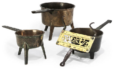 THREE BRONZE SKILLETS