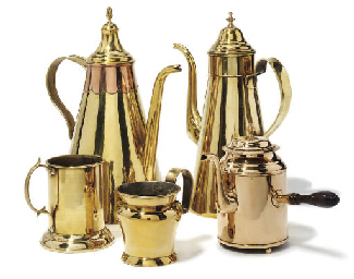TWO FLEMISH CONICAL BRASS COFF