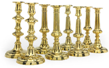 FOUR PAIRS OF ENGLISH BRASS CA