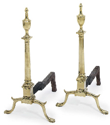 A PAIR OF AMERICAN BRASS ANDIR