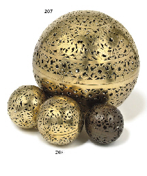 A LARGE PIERCED BRASS INCENSE