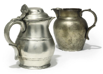 AN ENGLISH PEWTER LIDDED ALE J