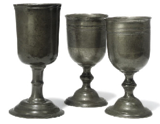 A PAIR OF ENGLISH PEWTER CHALI