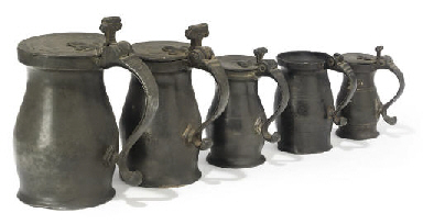 FIVE ENGLISH PEWTER DOUBLE-VOL