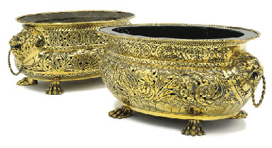 TWO FRENCH OVAL BRASS PLANTERS