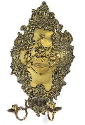 A FRENCH BRASS WALL SCONCE