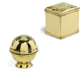 A FRENCH BRASS TOILET BOX