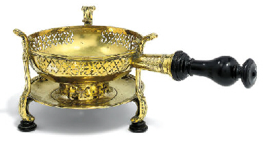 A FRENCH BRASS CHAFING DISH