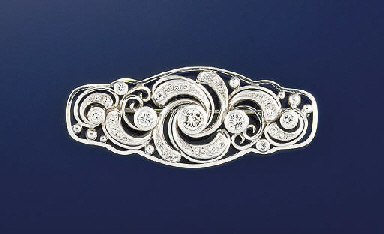 A diamond panel brooch