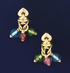 A pair of gemstone earpendants