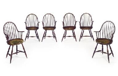 A Set of Six Painted Windsor A