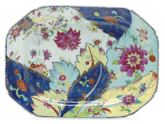 A CHINESE EXPORT TOBACCO LEAF PORCELAIN PLATTER