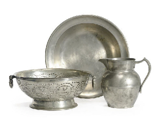 A Group of Three Pewter Items