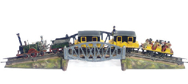 A PAINTED TIN MODEL TRAIN