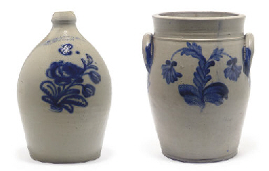 TWO COBALT DECORATED STONEWARE