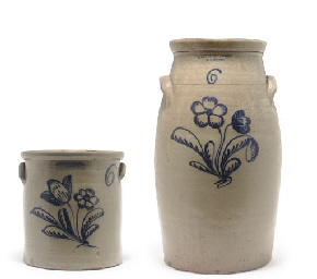 TWO COBALT-DECORATED STONEWARE