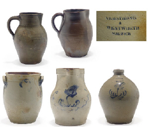 A GROUP OF FIVE STONEWARE ITEM