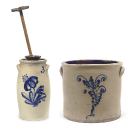 A GROUP OF TWO STONEWARE ITEMS