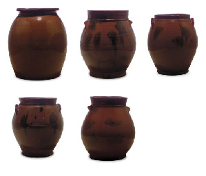 A GROUP OF FIVE OVOID REDWARE