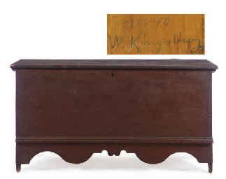A RED-PAINTED CHIPPENDALE PINE