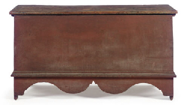 A RED-PAINTED CHIPPENDALE WOOD