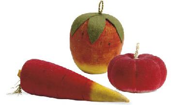 A GROUP OF VELVET FRUITS AND V