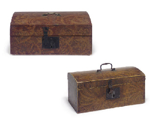 TWO GRAIN-PAINTED DOME-TOP BOX