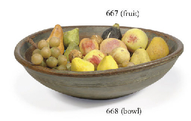 A GROUP OF STONEWARE FRUIT