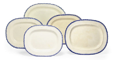 FIVE BLUE AND WHITE PEARLWARE