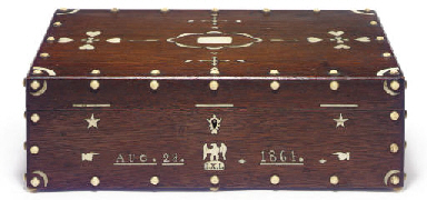AN IVORY-INLAID WALNUT BOX**