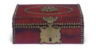 A BRASS-MOUNTED RED LEATHER DO