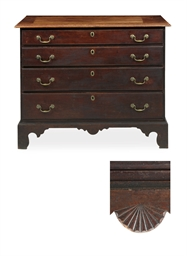 A CHIPPENDALE CHERRY WOOD CHES
