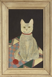 Portrait of a cat with a ball