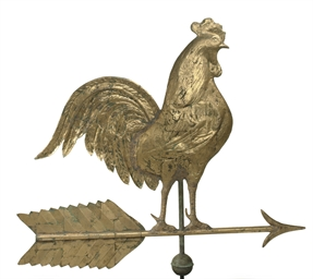 A GILT COPPER ROOSTER AND ARRO