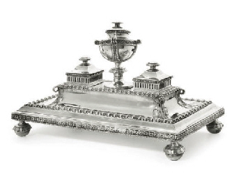 A VICTORIAN SILVER INKSTAND,