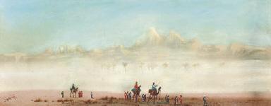 A camel train in a desert haze