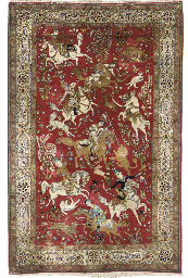 A very fine Qum silk rug